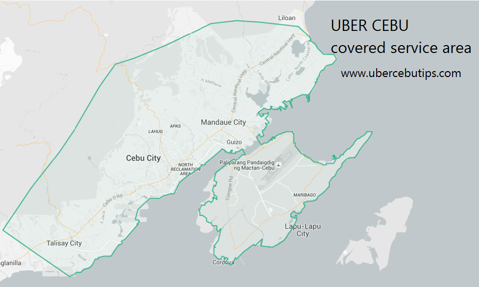Uber cebu covered service area